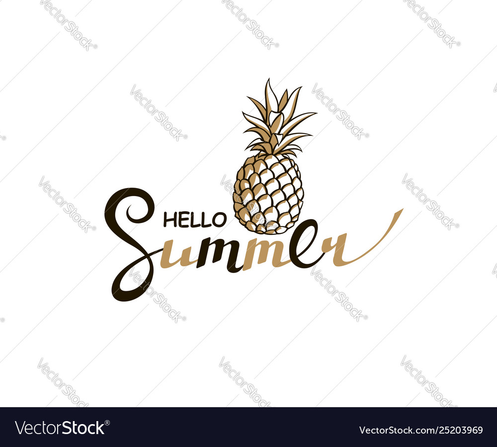 Hello summer lettering with pineapple