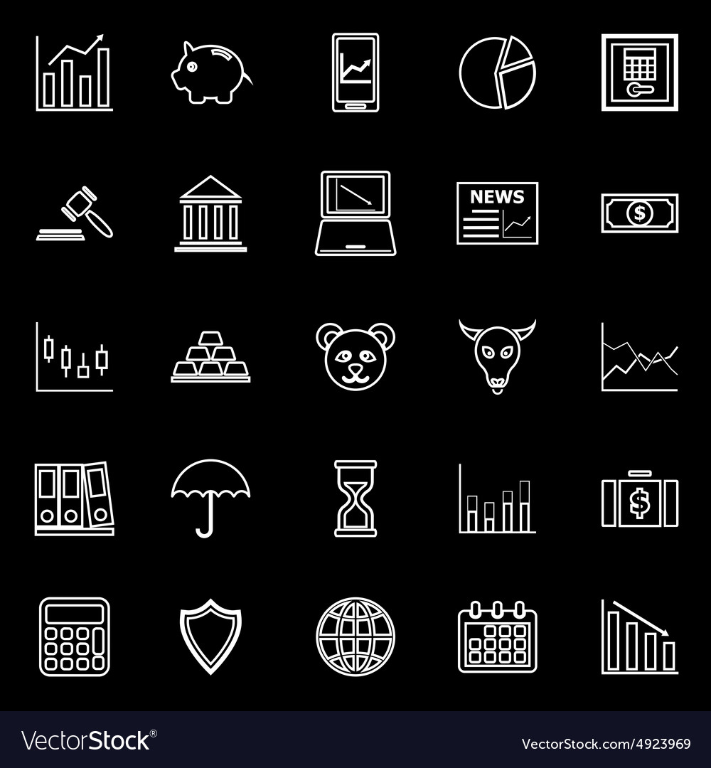 Stock market line icons on black background vector image