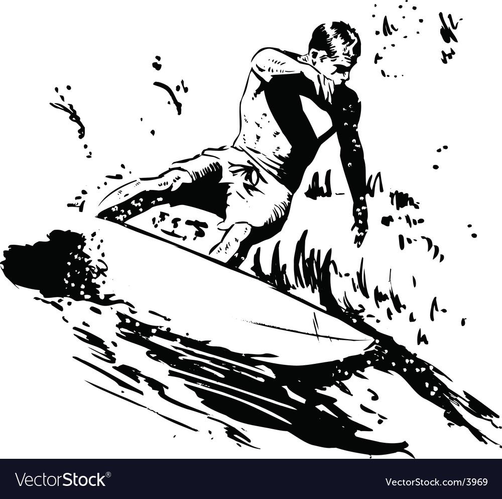 Surfer short board vector image