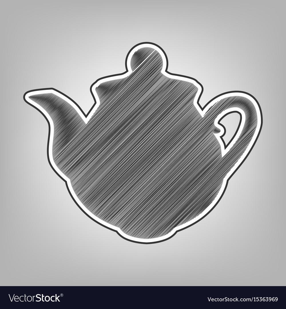 Tea maker sign pencil sketch imitation vector image