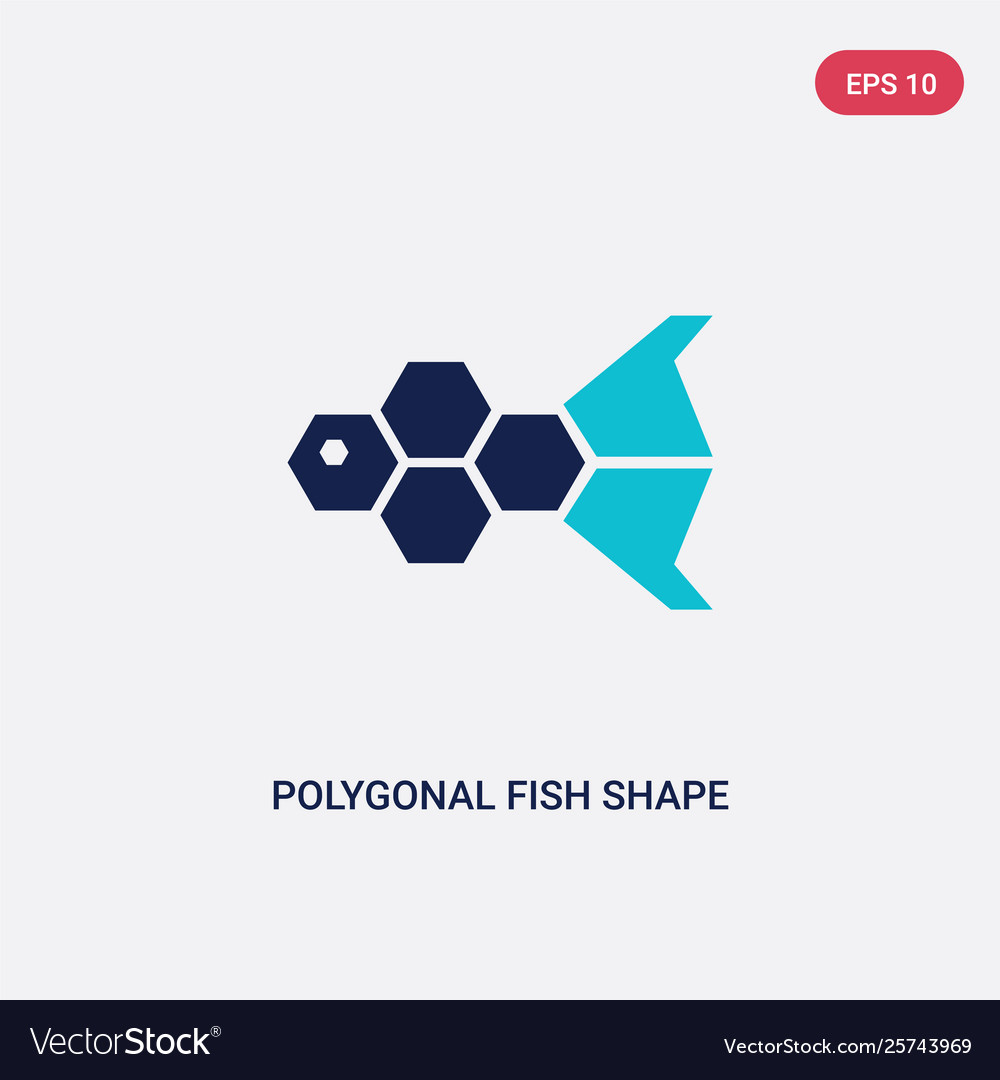 Two color polygonal fish shape small triangles