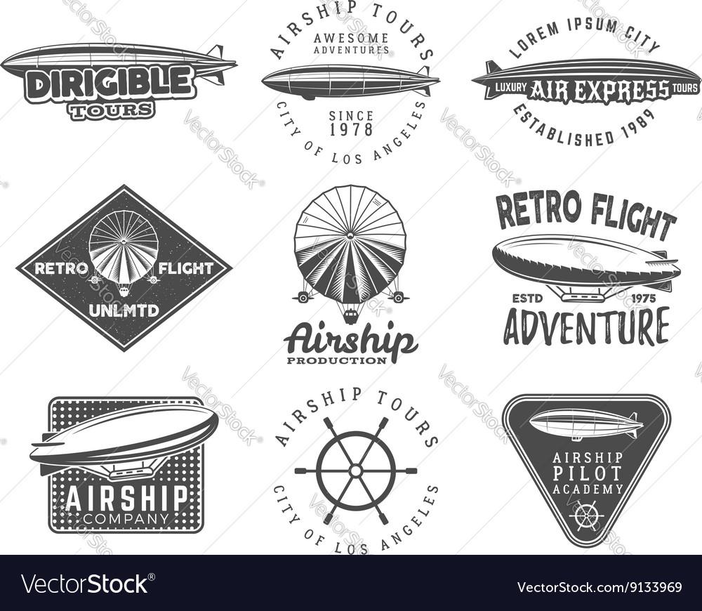 Vintage airship logo designs set Retro Dirigible