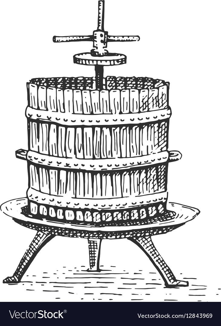 Wine press vintage engraved hand drawn