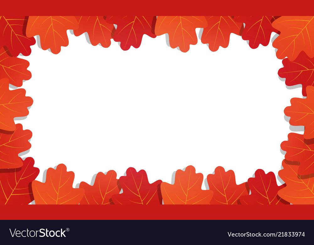 Autumn background frame of oak leaves