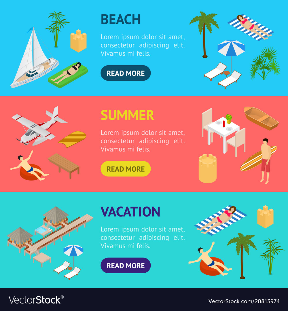 Beach vacation banner horizontal set 3d isometric