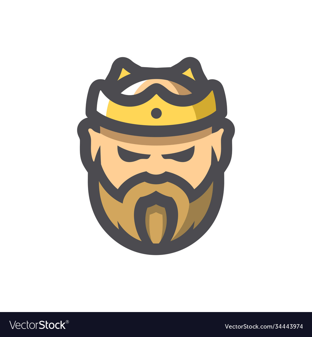 Bearded king with a crown icon cartoon