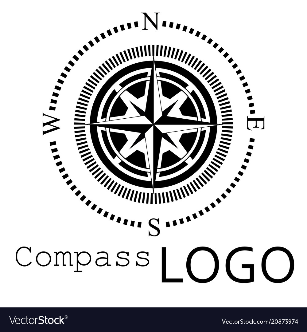 Black and white compass logo icon rose