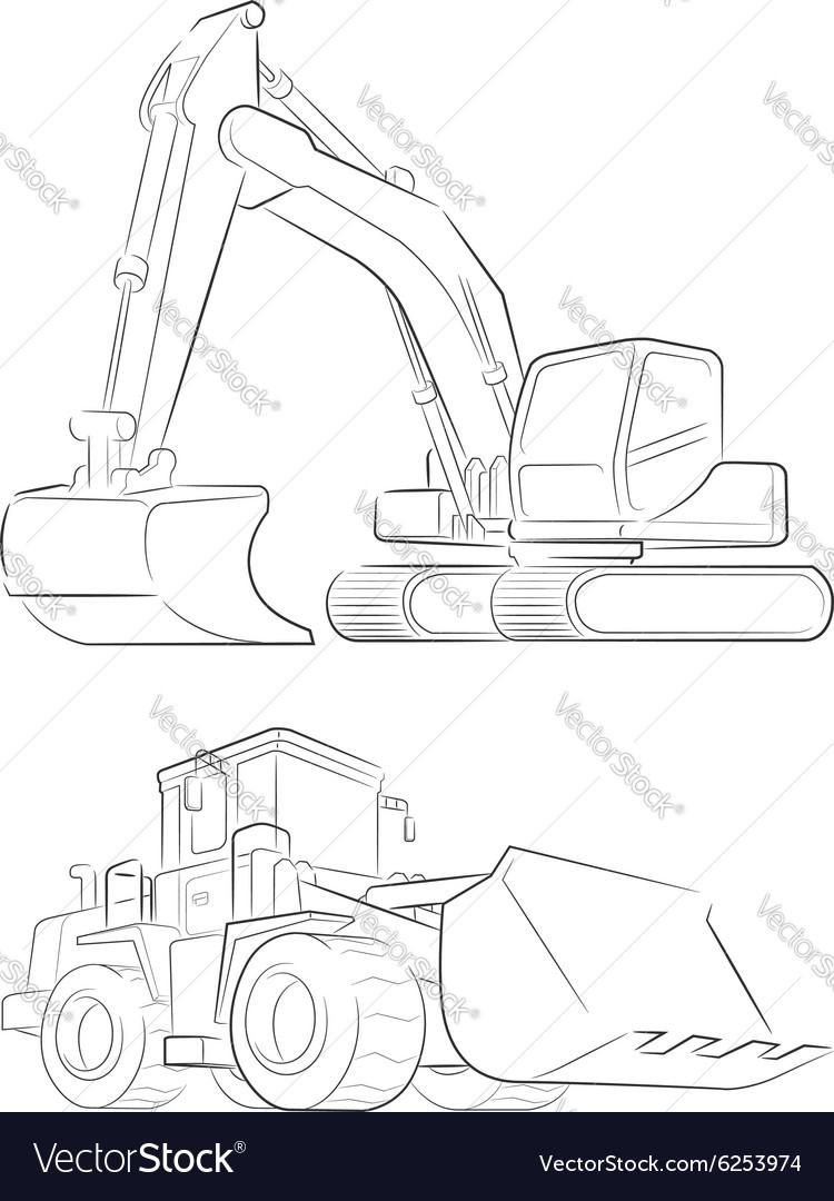 Bulldozer Excavator Line Art