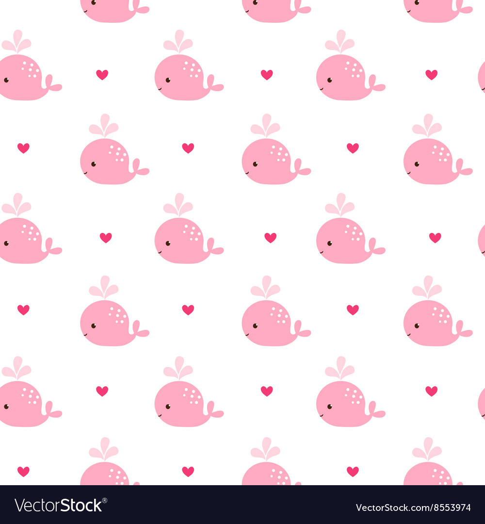cute background with cartoon pink whales vector image