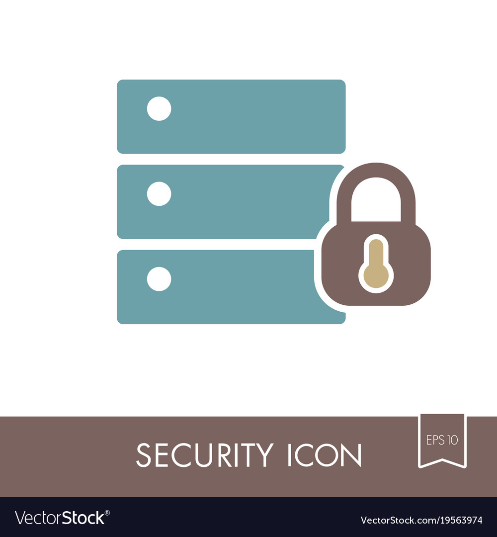 Database sign and padlock icon