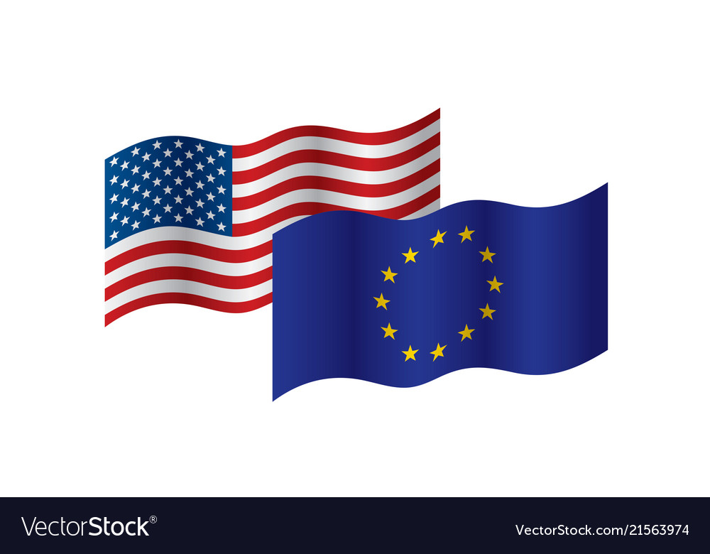 European union and american flags