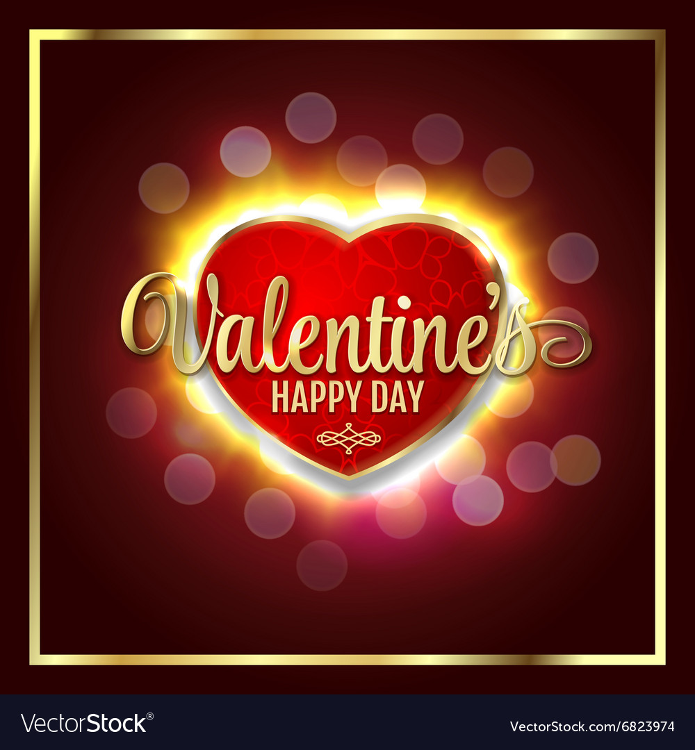 Great heart with sign Valentines happy day