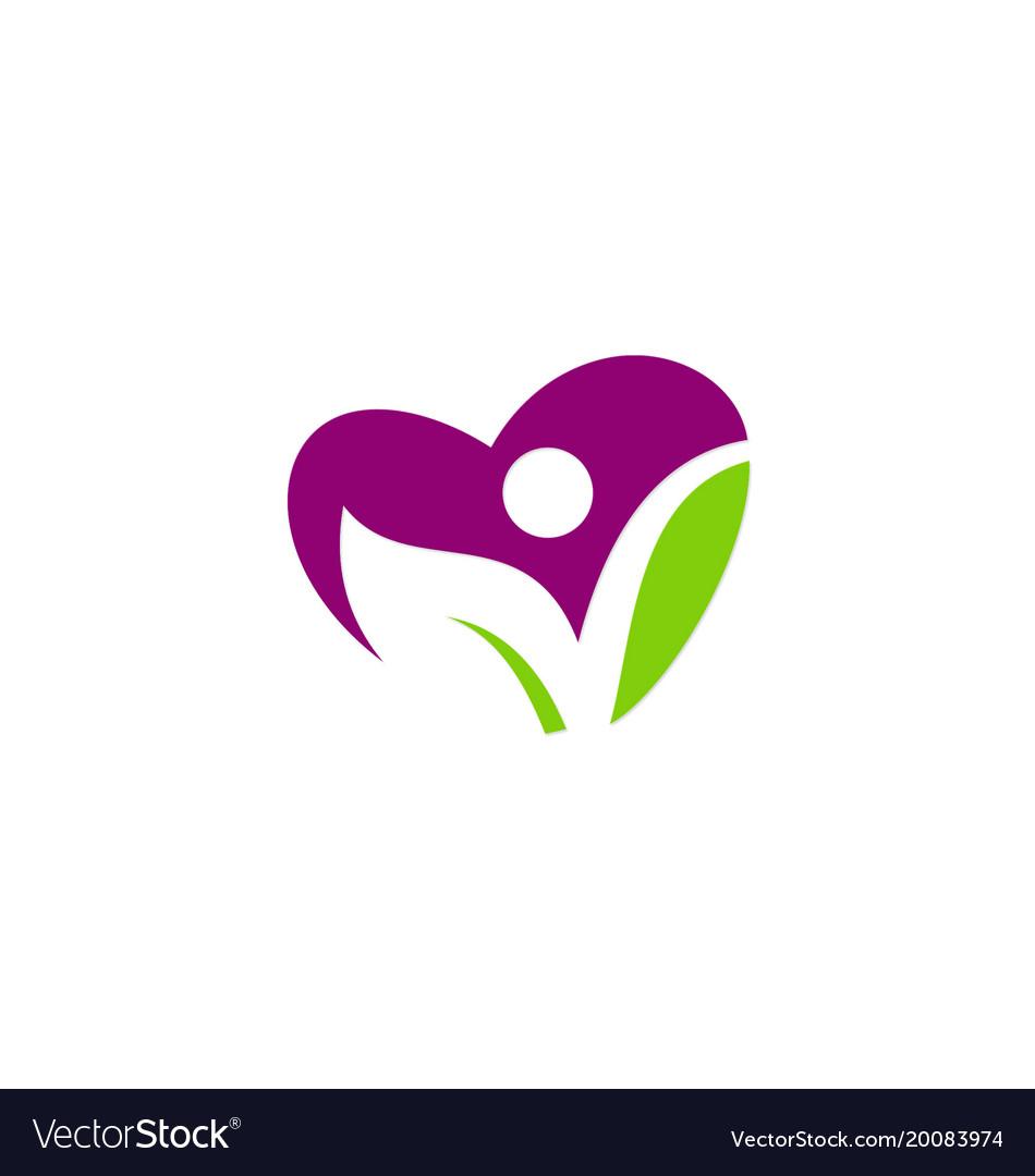 Love heart green leaf vegan people logo