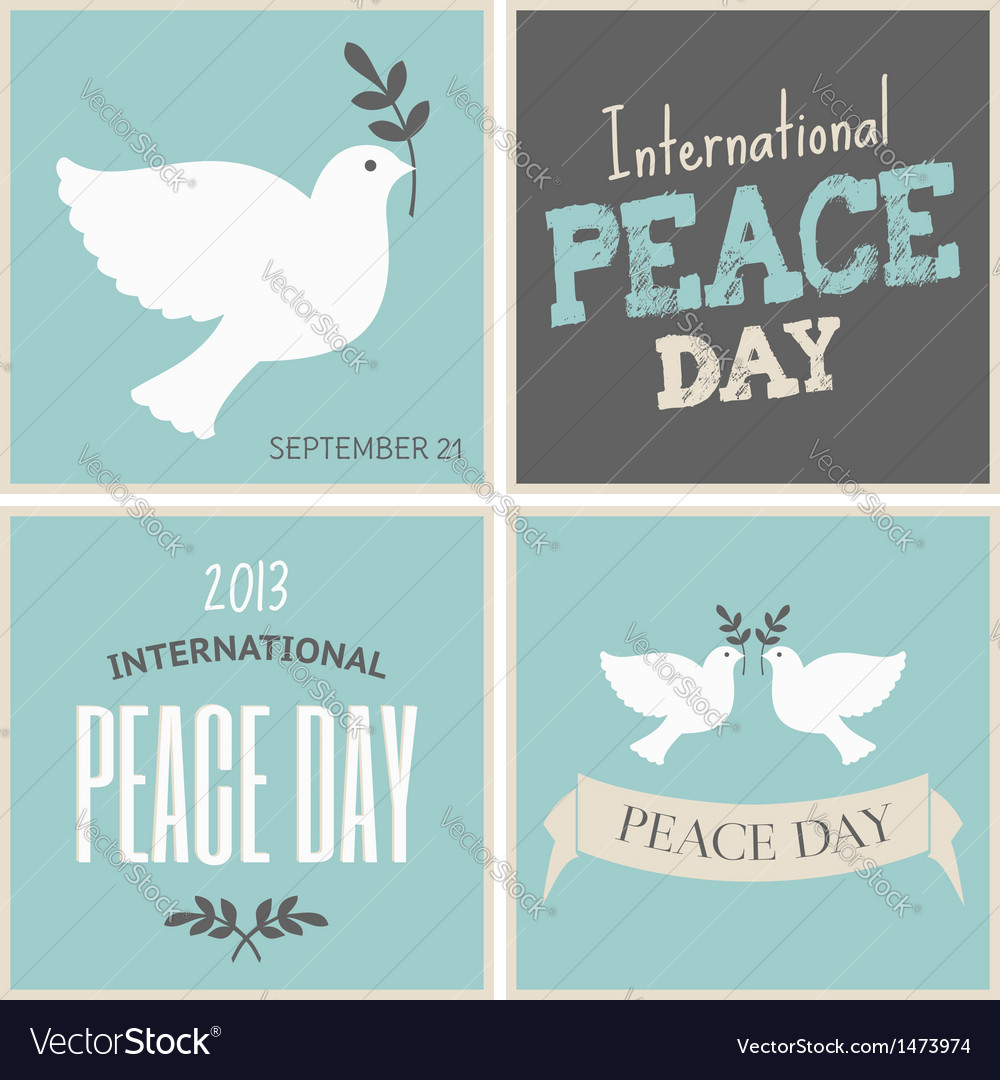Peace day symbols card collection vector image