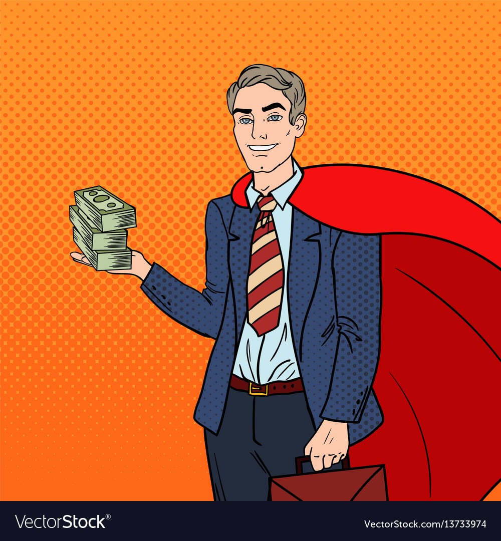 Pop art super businessman in red cape with money