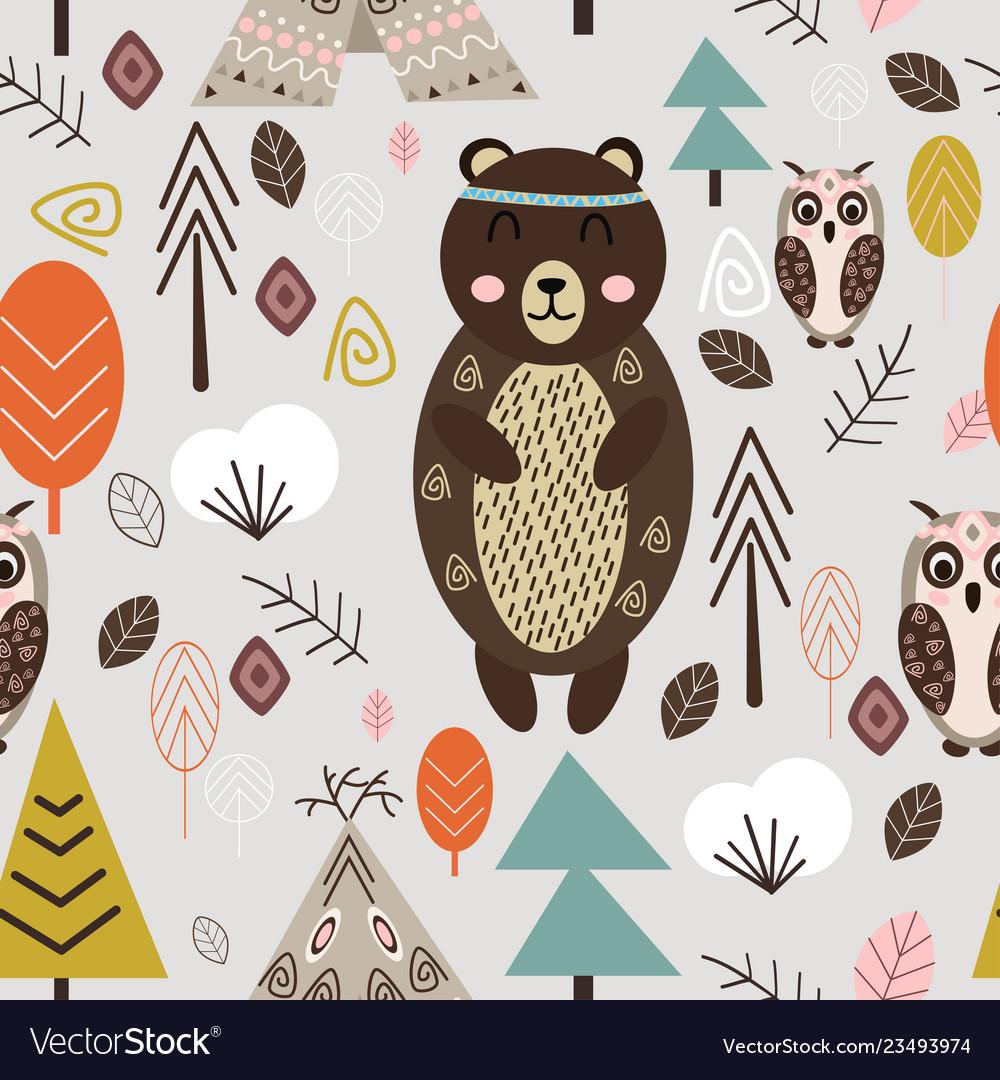 Seamless pattern with bear in forest scandinavian