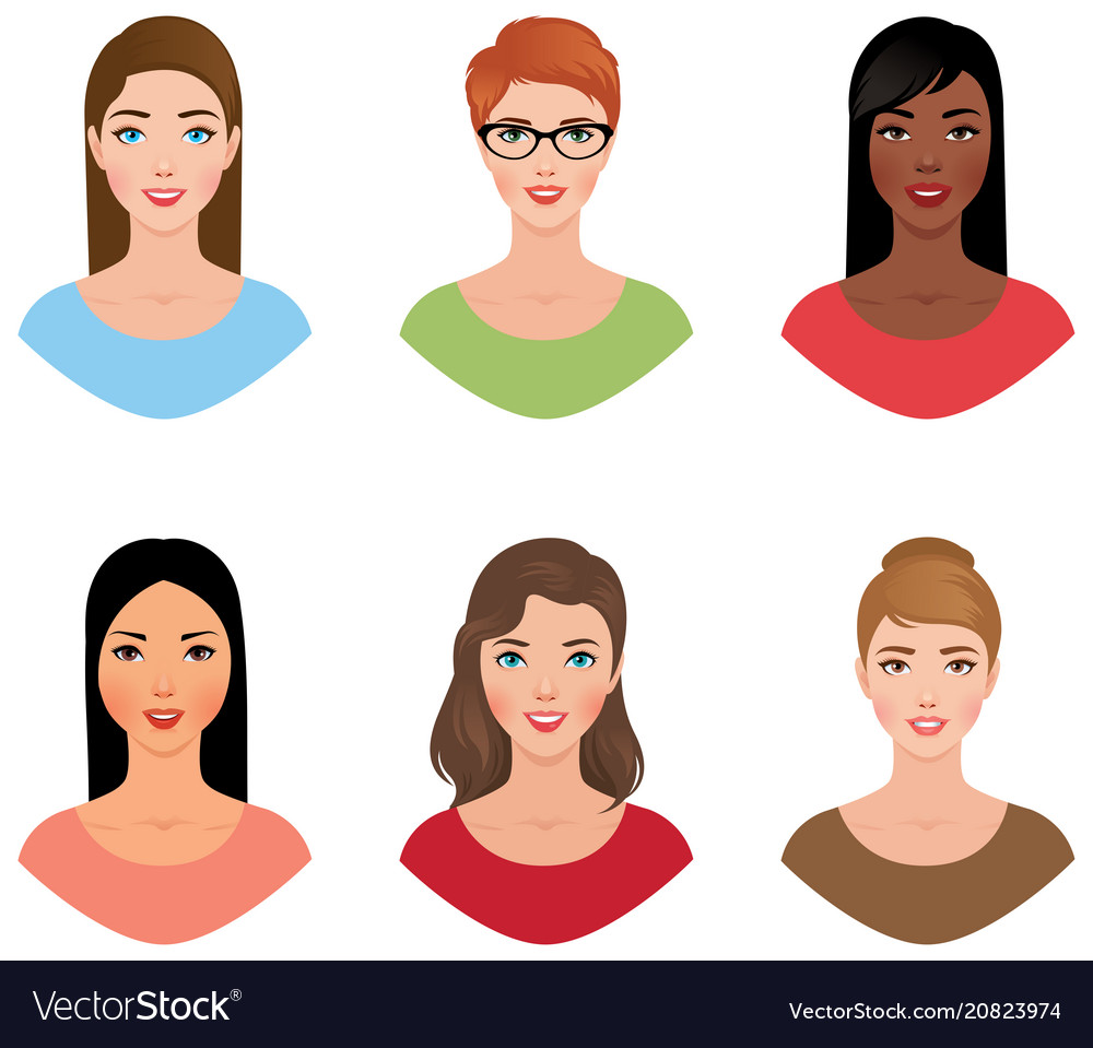 Set avatars women of different nationalities with