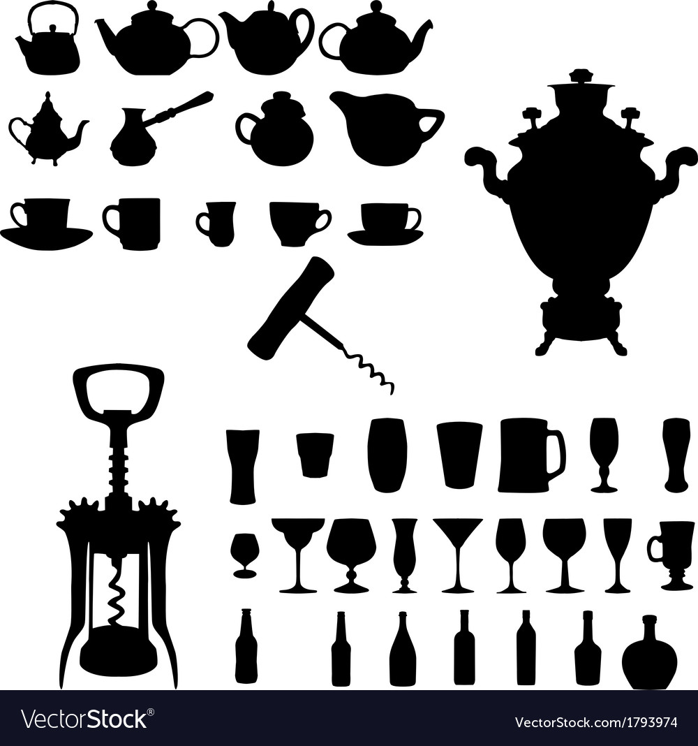 Silhouette of Drinks Cafe Icons
