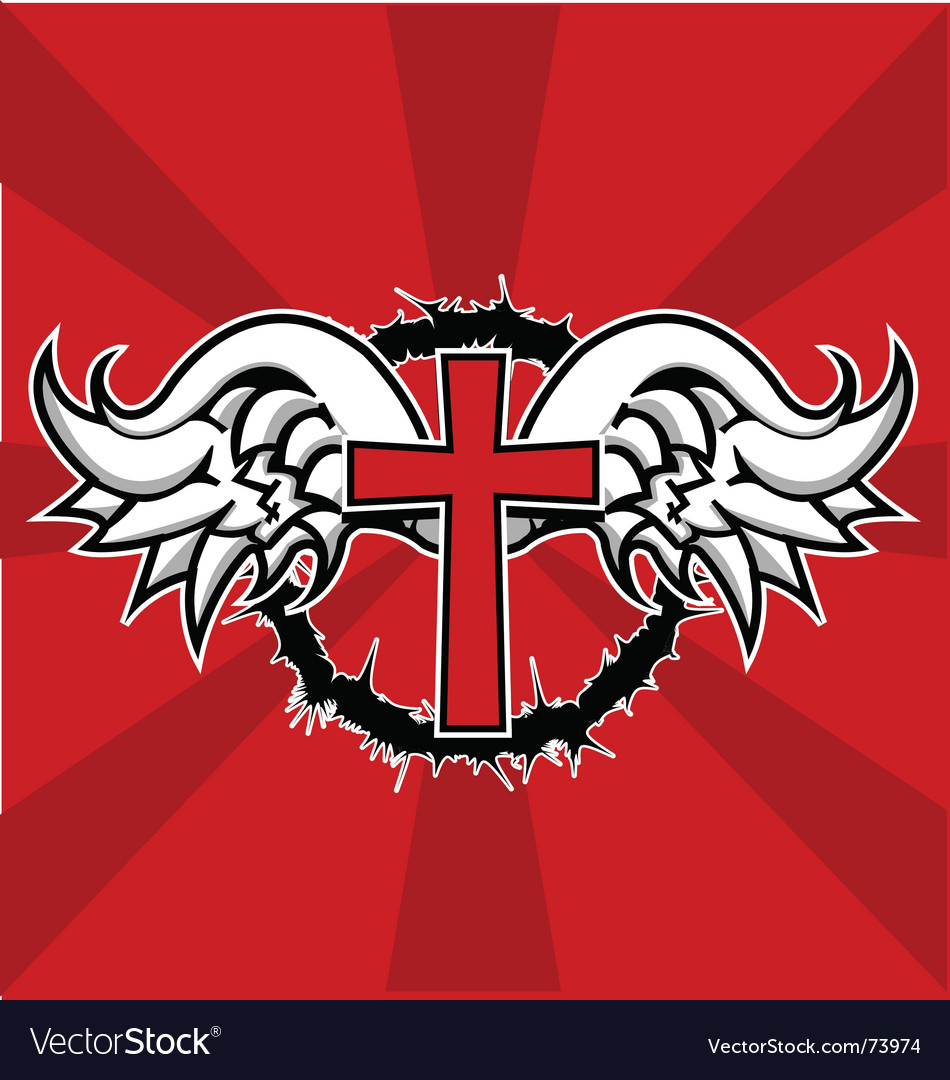 Winged cross vector image
