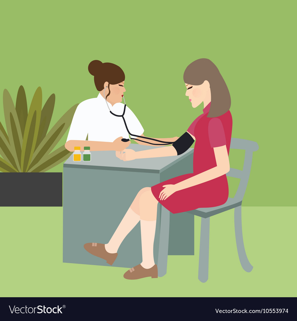 Woman check blood pressure with nurse medical