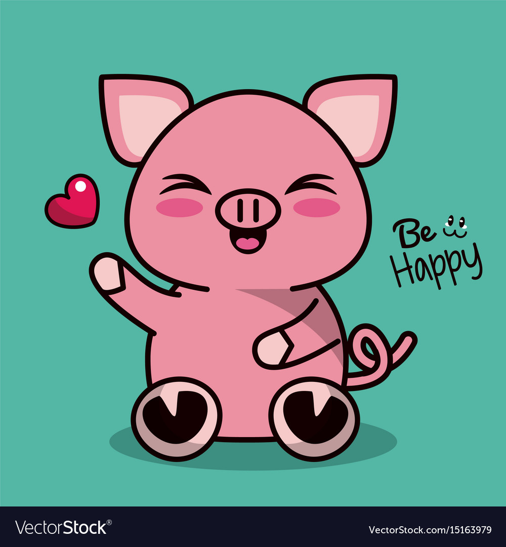 Image of: Stickers Vectorstock Color Background With Cute Kawaii Animal Pig Vector Image