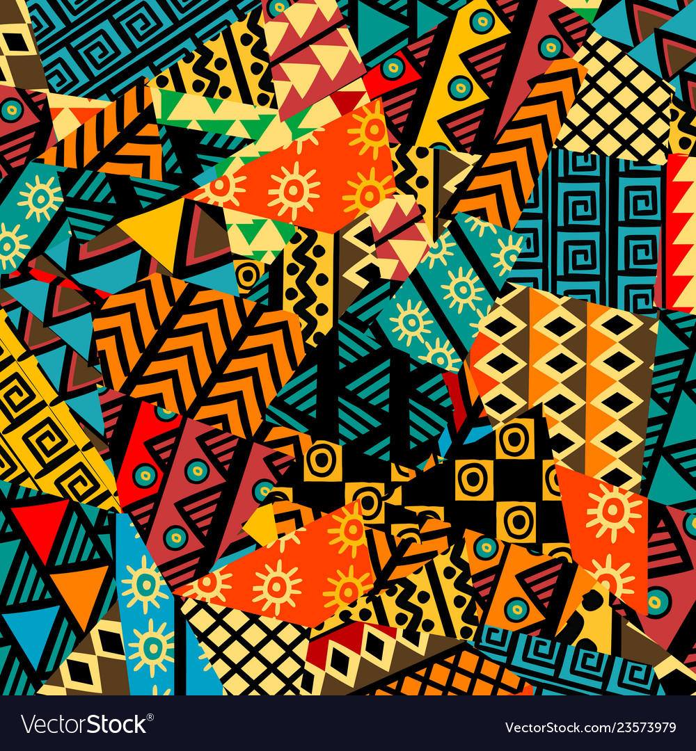 Colored african patchwork background with african