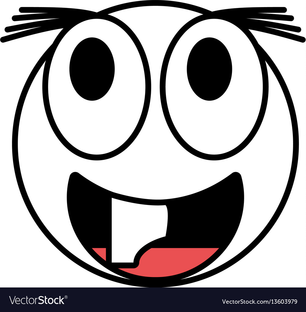 Emoticon happy april fools day line vector image