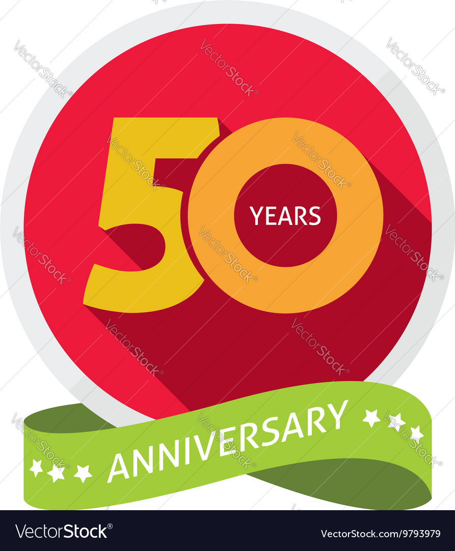 Fiftieth years anniversary logo 50 year birthday vector image