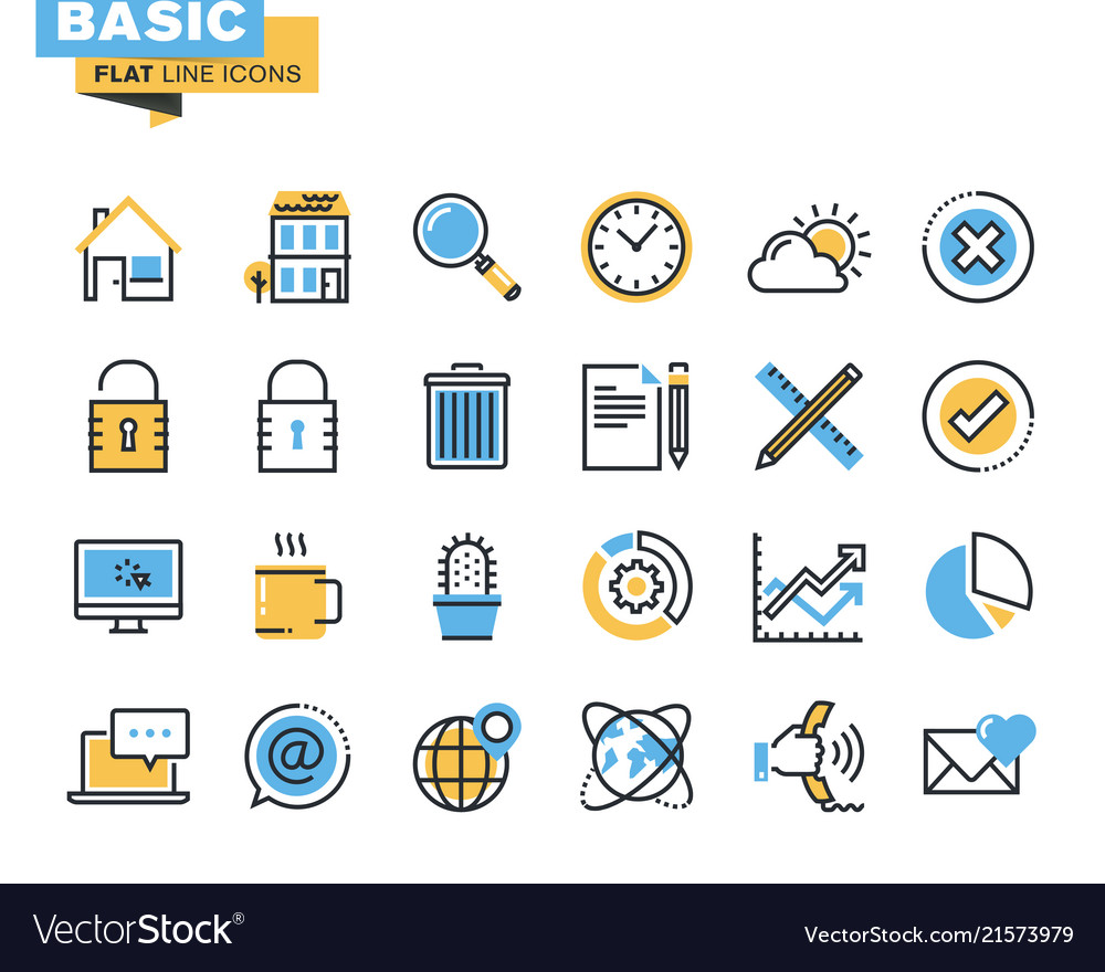 Flat line icon pack for designers and developers