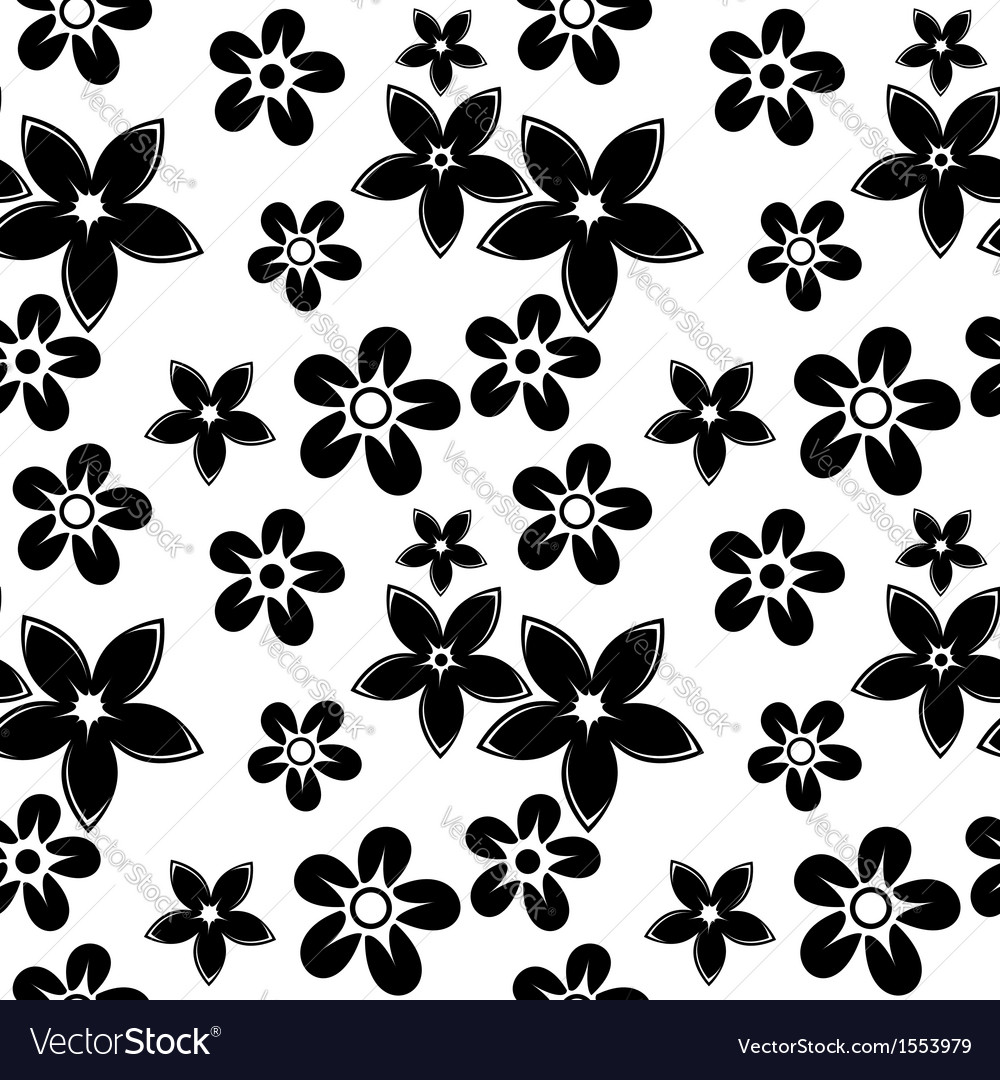 Floral silhouettes pattern black