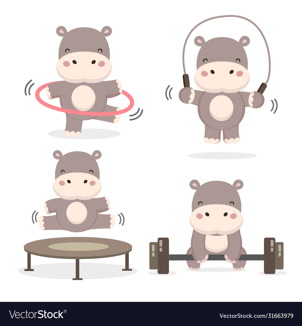 Funny Hippos Doing Exercise Royalty Free Vector Image