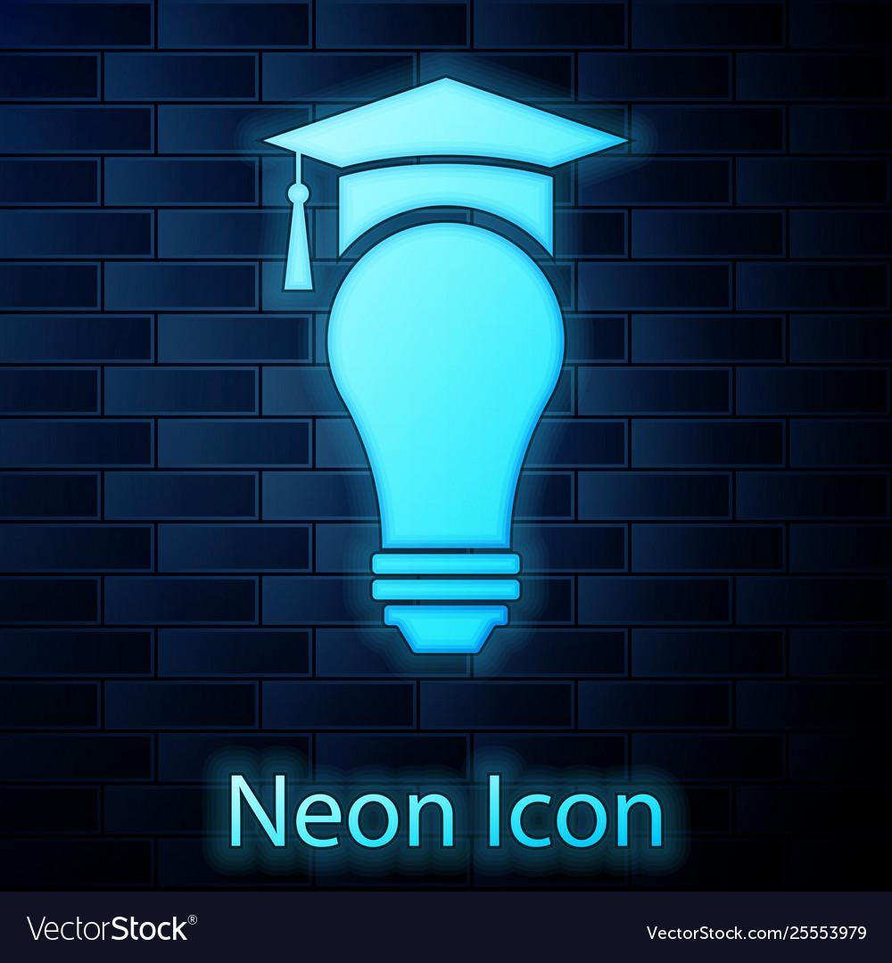 Neon Light Bulbs >> Glowing Neon Light Bulb And Graduation Cap Icon