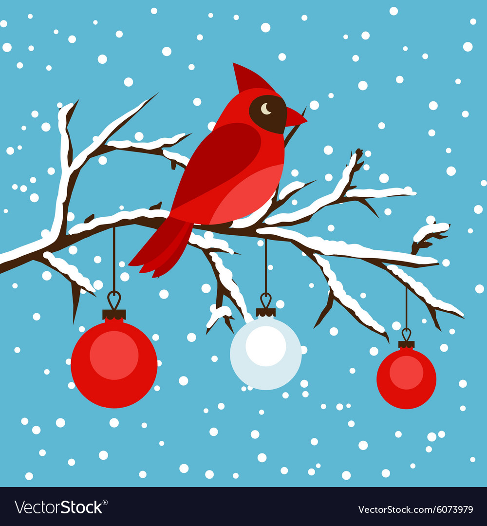 Happy holidays greeting card with bird red