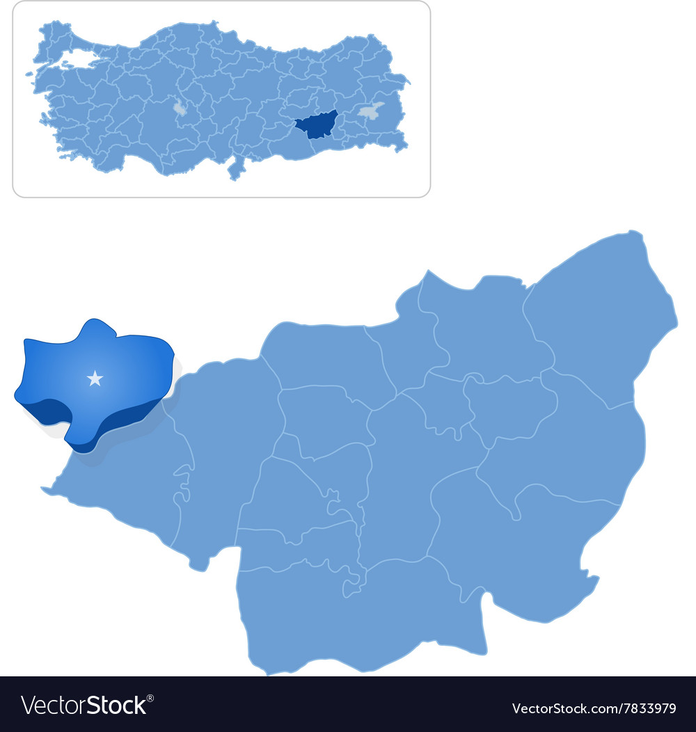 Map of Diyarbakir - Cungus is pulled out vector image