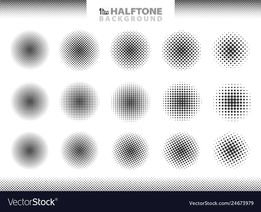 Modern halftone set of circles decoration eps10