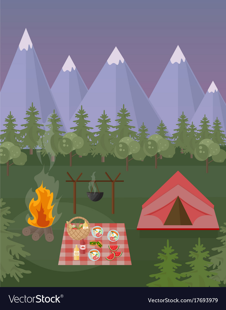 Picnic and camping tent mountains background