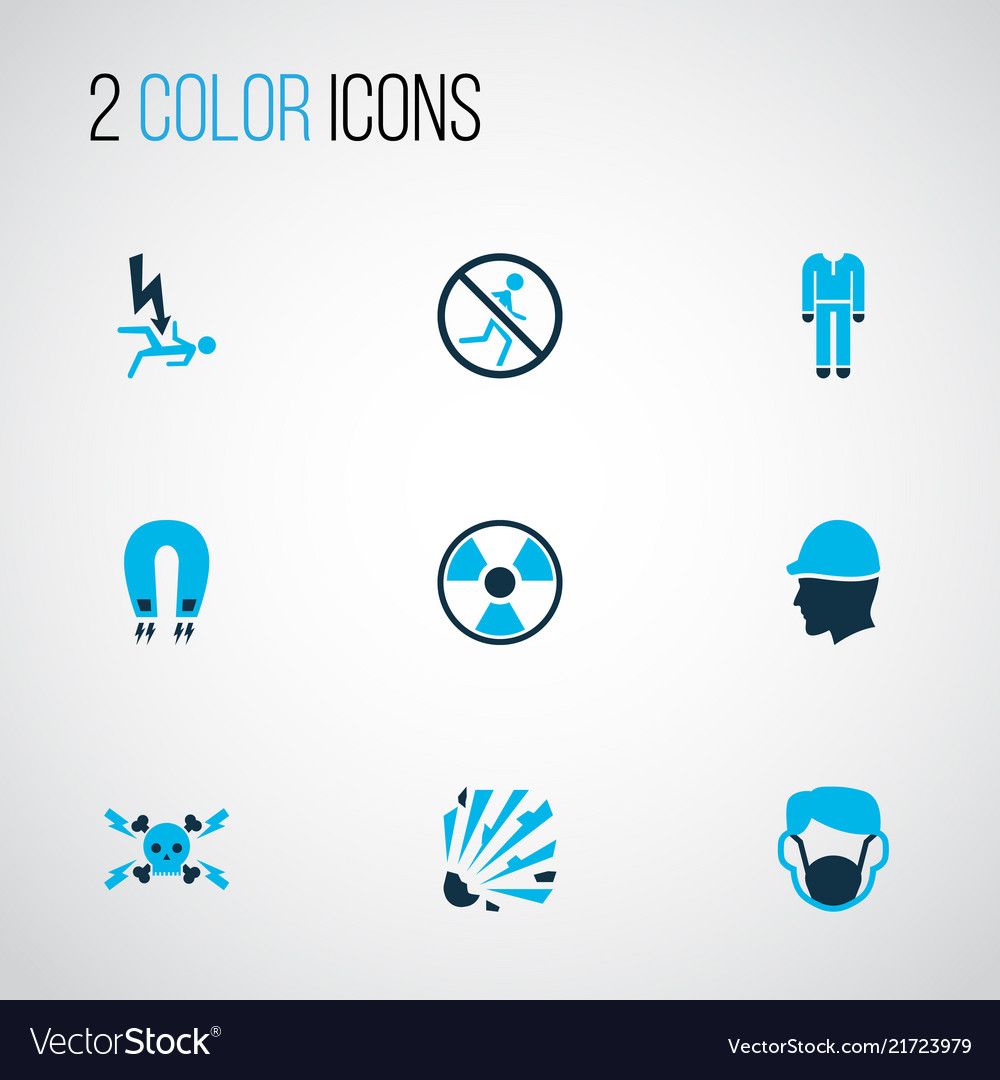 Protection icons colored set with head protection