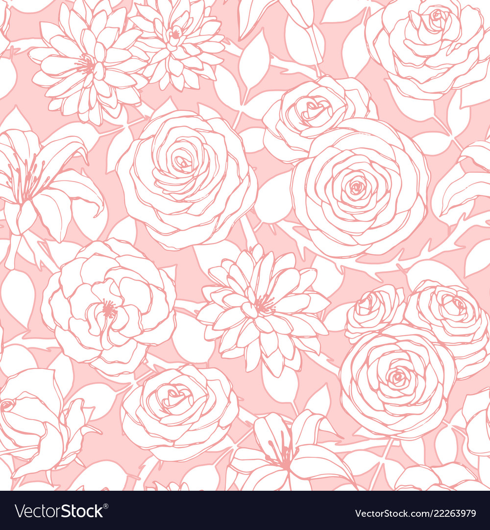 Repeat pattern with lily chrysanthemum camellia