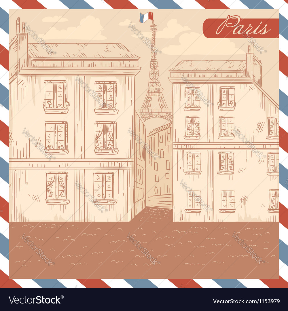 Retro-styled france postcard