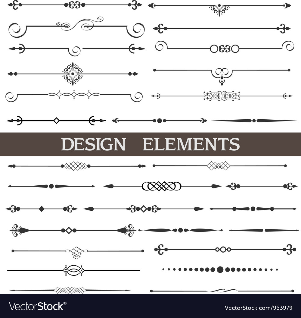 Set calligraphic design elements and page decor