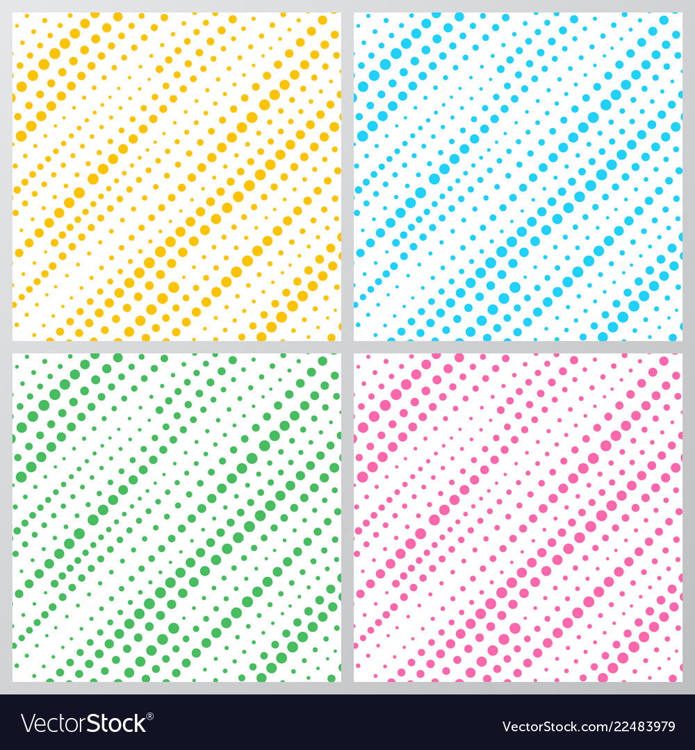 Set of abstract yellow blue green pink dotted