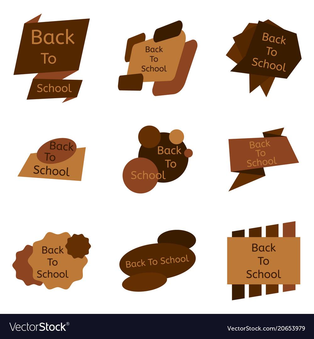 Set of nine brown back to school badges
