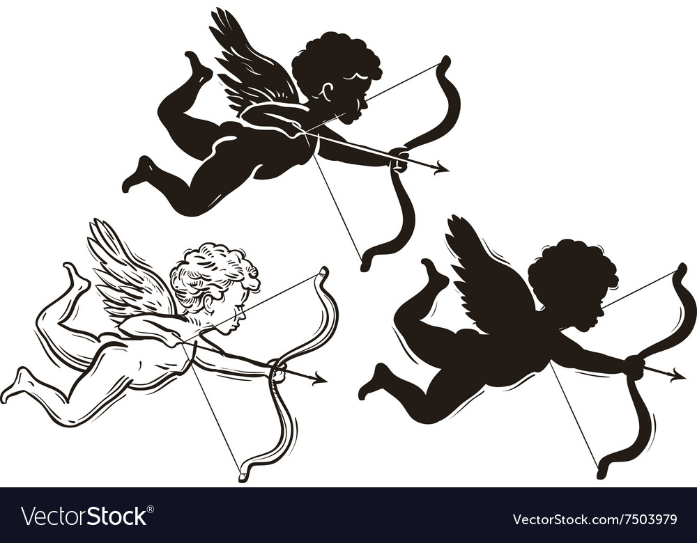 Three cute Valentines angel silhouette vector image
