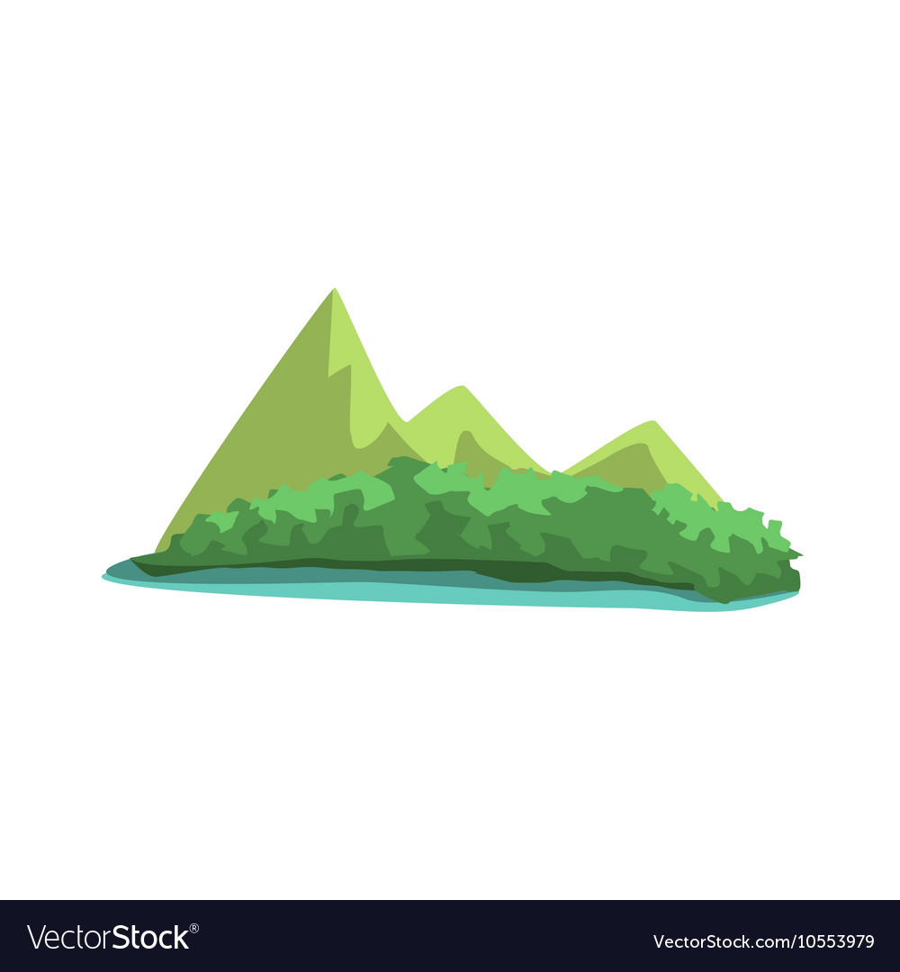 Tropical Island With Mountains View Jungle