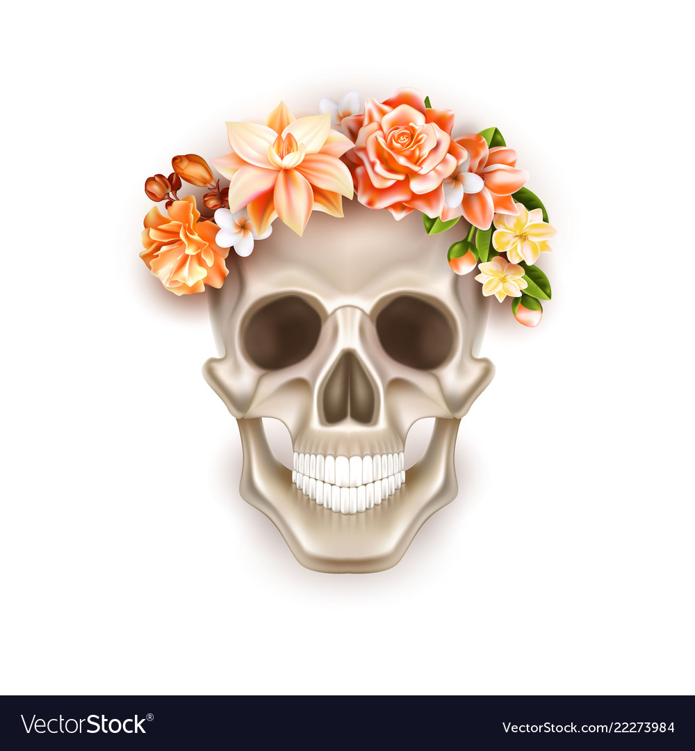 Dia de los muertos day of dead skull flower