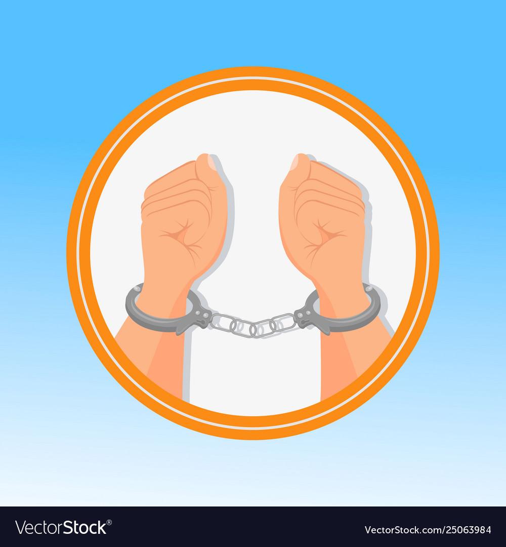 Handcuffed hands fists flat