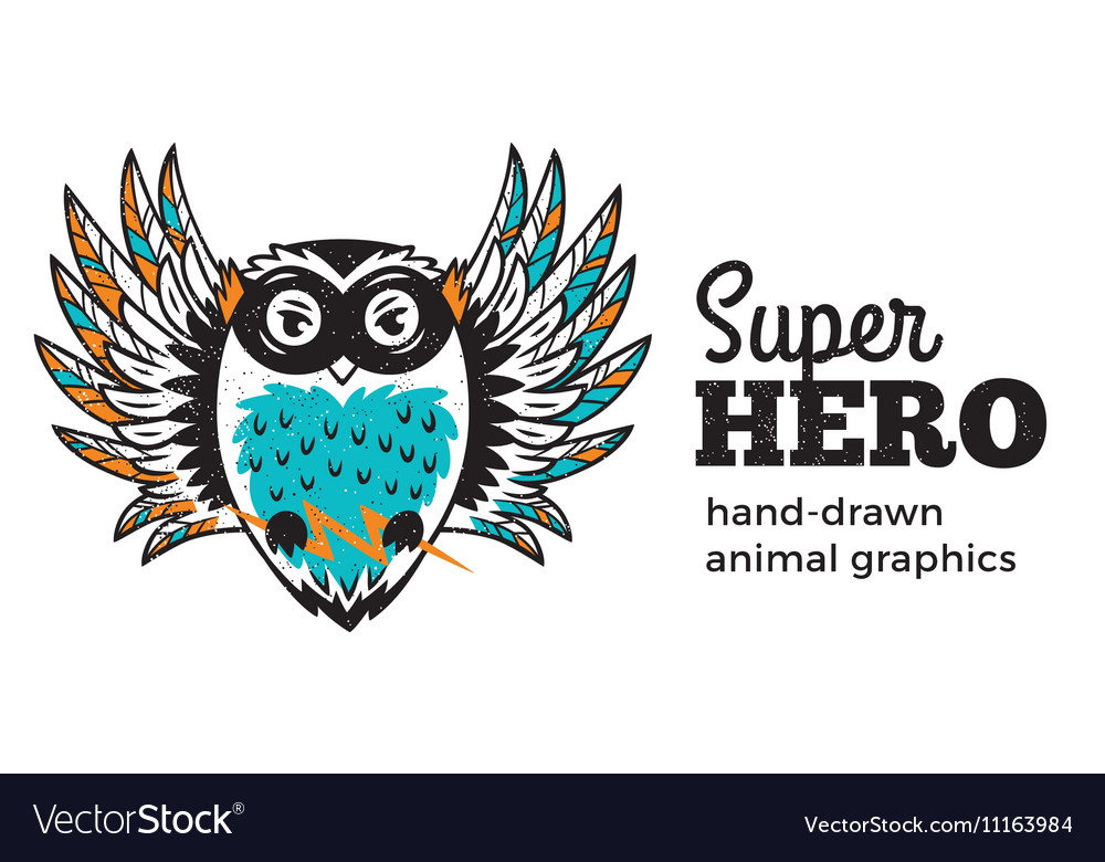 Owl in Superhero costume character isolated on