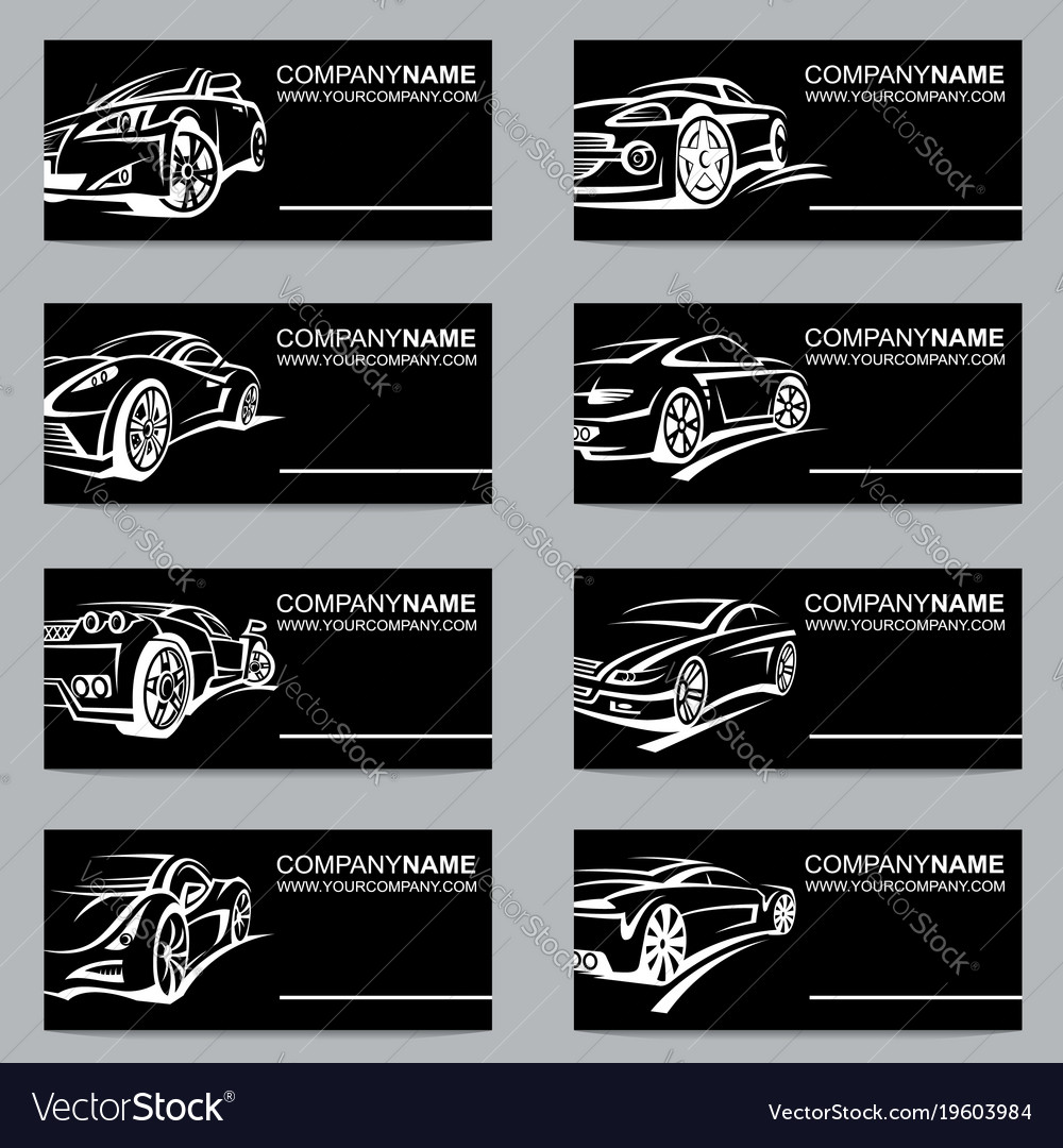 Set of car business cards royalty free vector image set of car business cards vector image colourmoves