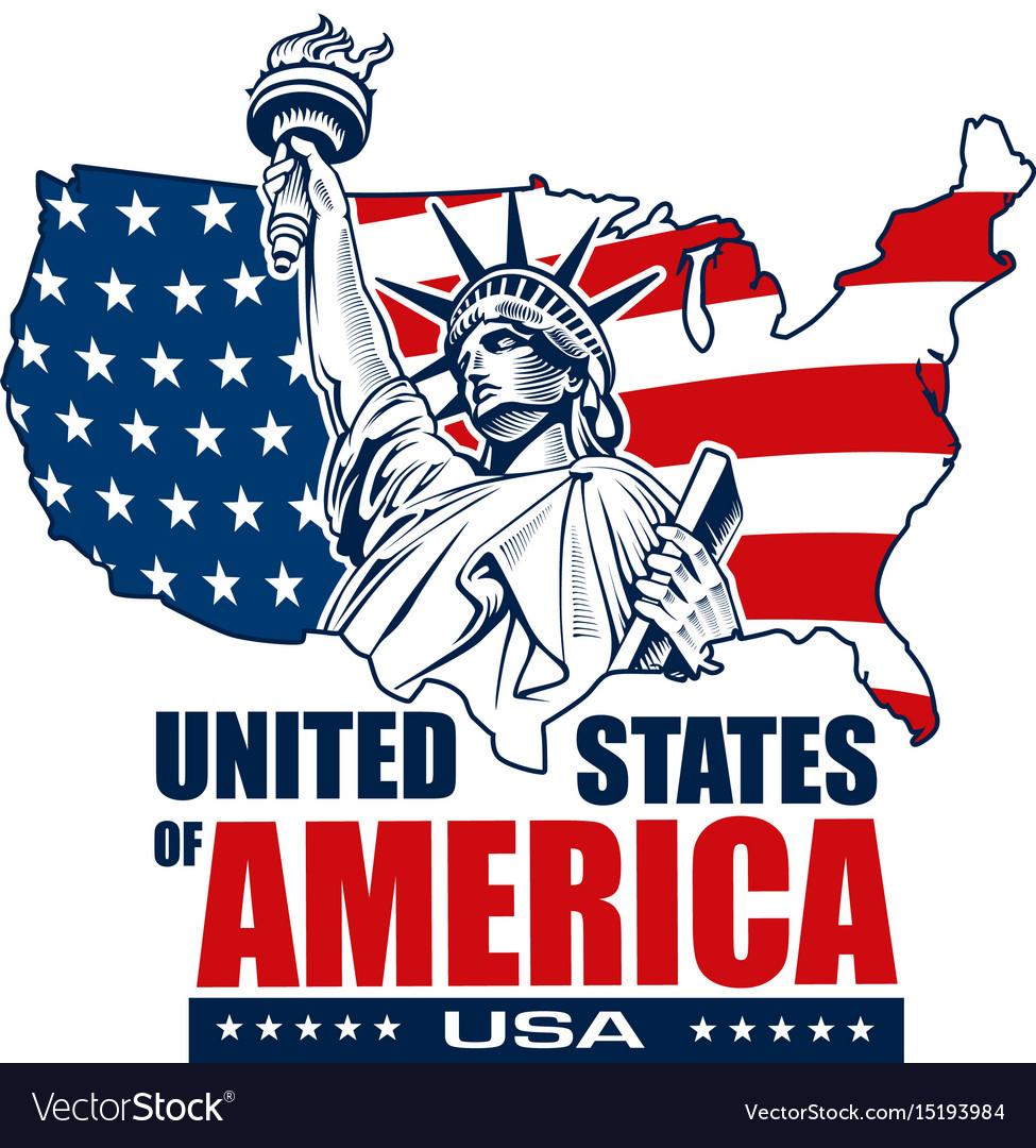 Statue of liberty nyc usa map and symbol