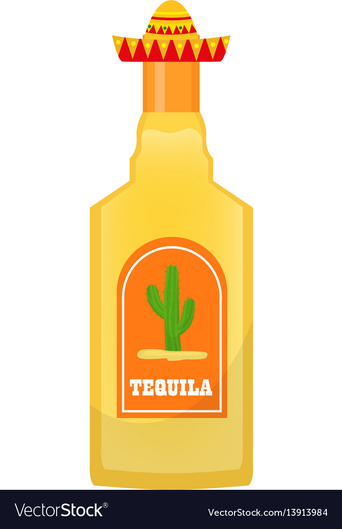 Tequila bottle icon flat cartoon style isolated